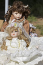 Nostalgia china dolls vintage retro at flea market Royalty Free Stock Images