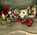 Nostalgic christmas decoration with antique toys over wooden background retro style picture Stock Photo