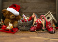 Nostalgic christmas decoration with antique toys Royalty Free Stock Photo