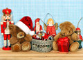 Nostalgic christmas decoration with antique toys retro style picture Royalty Free Stock Photos