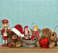 Nostalgic christmas decoration with antique toys vintage style picture Stock Images