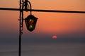 Nostalgic reminiscence at sunset with stained glass lantern kaliakra headland bulgarian black sea coast Royalty Free Stock Images