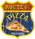 Nostalgic route 66 pizza diner sign