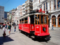 Nostalgic tram in istanbul turkey the runs along the famous istiklal caddesi st and is very much used by tourists and locals Stock Images