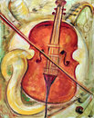Nostalgic Violin Painting Stock Photo