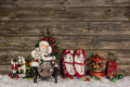 Nostalgic wooden christmas decoration with old children toys on Royalty Free Stock Photo