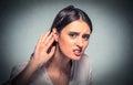 Nosy Woman Hand To Ear Careful...