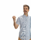 Not so angry young man attractive with a handlebar mustache playfully raises his fist in a challenge isolated on white Stock Images