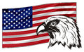 Not colored head of eagle with colored flag