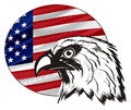 Not colored head of eagle with colored icon