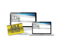 Not found hanging banner over electronics illustration design white Stock Photo