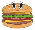 Not happy burger Royalty Free Stock Photo