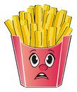 Not happy face of french fries Royalty Free Stock Photo