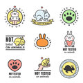 Not tested on animals cute multicolored icons (logos and stickers). Royalty Free Stock Photo