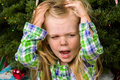This is not what i wanted little girl quite unhappy and distraught over getting the wrong gift Stock Photo