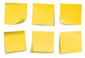Notas de post-it amarelas Fotografia de Stock