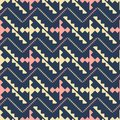 Notched shapes and crossed zigzag lines seamless pattern