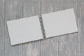 Note book on grey wooden desk top view Royalty Free Stock Image