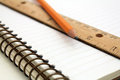 Note book with pencil and ruler spiral Stock Photography