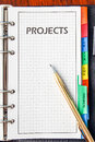 Note book on project page with pen Stock Photo