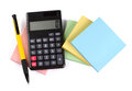 Note calculator pad and pen on white background Stock Photo