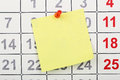 Note on calendar Royalty Free Stock Photo