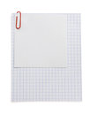 Note checked paper and clip on white Royalty Free Stock Photos