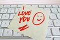 Note on computer keyboard: i love you Stock Photo