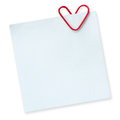 Note for the day of love and heart shaped paper clip on a white background Royalty Free Stock Photos