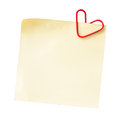 Note for the day of love and heart shaped paper clip on a white background Stock Photo