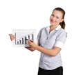 Note pad with business growth woman holding Stock Image
