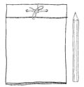 Note pad and yellow pencil cute lineart illustration Royalty Free Stock Photo