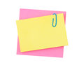 Note paper and clip isolated on white background Royalty Free Stock Photography