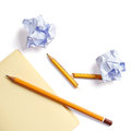 Note paper crumpled paper and pencil a broken on white Stock Photo
