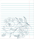 Note paper with floral sketch Royalty Free Stock Photo