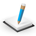 Note paper with pencil vector icon Stock Images