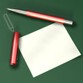 Note paper with a red pen Stock Photos