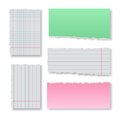 Note paper set with ragged clear blank squared and lined notepad pages Stock Image