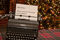 Note for santa a typed on an old typewriter Royalty Free Stock Photo