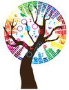 Note tree illustration of a with musical notes Stock Photo