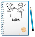 A notebook with ballet dancers at the cover page illustration of on white background Stock Images