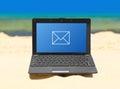 Notebook on beach Royalty Free Stock Photo