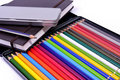 Notebook , black pencil and colored pencil Royalty Free Stock Photo