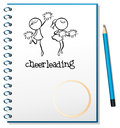 A notebook with a cheerleading design illustration of on white background Royalty Free Stock Photography