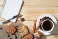 Notebook, coffee, cookie, pastry, breakfast, espresso, backgroun Royalty Free Stock Photo