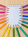 Notebook and color pencils Royalty Free Stock Photography