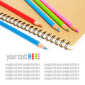 Notebook and color pencils stationery isolated on white background Royalty Free Stock Photography