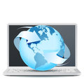 Notebook Computer with Planet Earth Royalty Free Stock Image