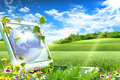 Notebook computer sitting on green grass Royalty Free Stock Images