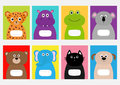 Notebook cover Cat, dog, jaguar, hippopotamus, elephant, bear, frog, koala. Zoo animal face Cute cartoon character set Baby childr Royalty Free Stock Photo